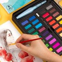 Высокое качество Профессиональные Улучшенный Портативный одноцветное акварельные краски в наборе Краски кисти яркое Цвет пигментная крас...