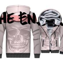 цена на Skull Jacket 3D Print The End Hoodie Men Hip Hop Hooded Sweatshirt 2018 New Design Winter Thick Fleece Warm Zip up Swag Coat 5XL