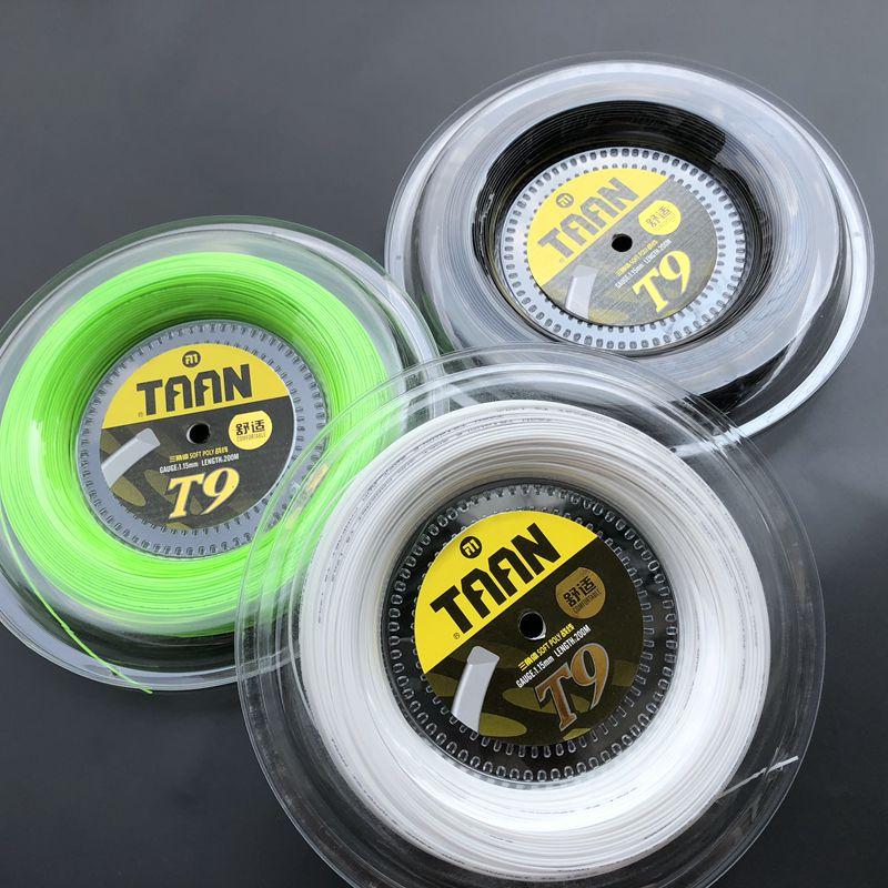 1 bobine TAAN T9 doux poly spin tennis ficelle 1.15mm 200 M tennis raquettes chaîne confortable tennis cordes