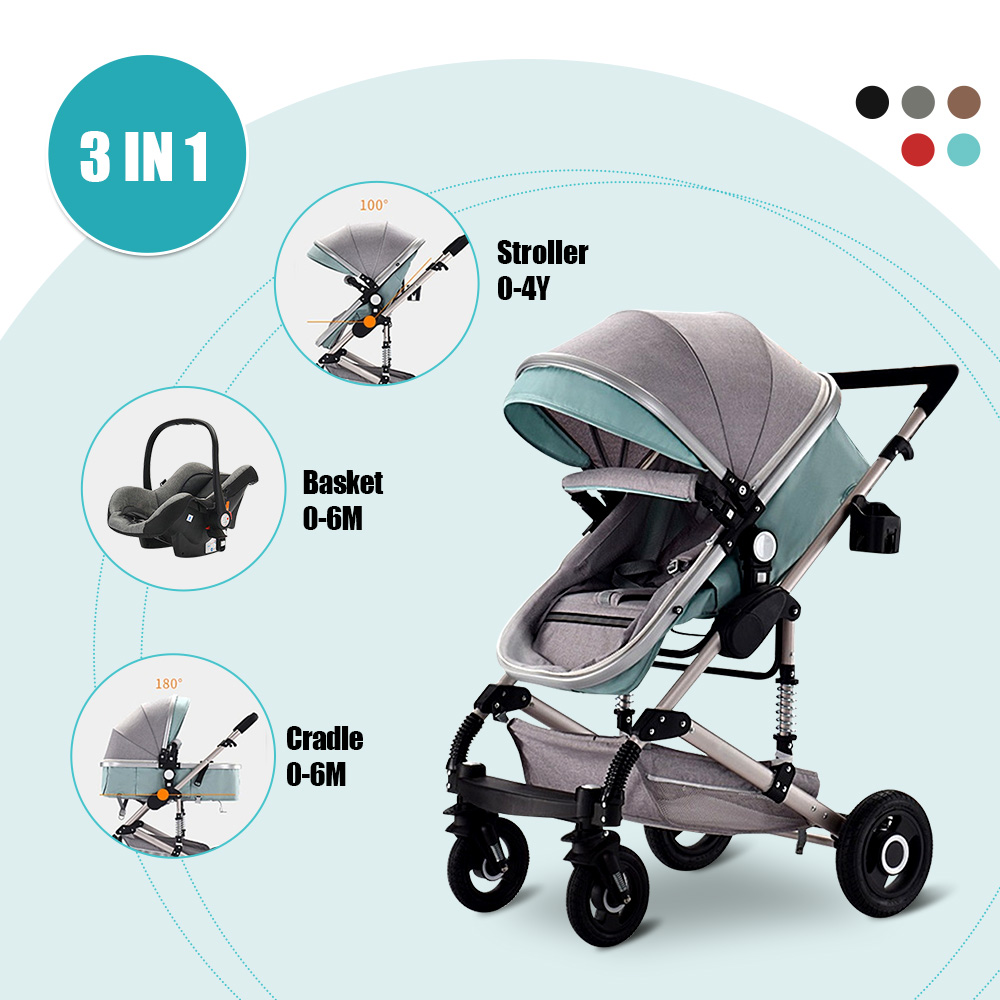 <font><b>3</b></font> <font><b>in</b></font> <font><b>1</b></font> <font><b>Baby</b></font> Stroller Bassinet Car Safety Seat Foldable Carriage Pushchair Lying Sleeping Basket Highview <font><b>Pram</b></font> 0-4 year 4 Season image