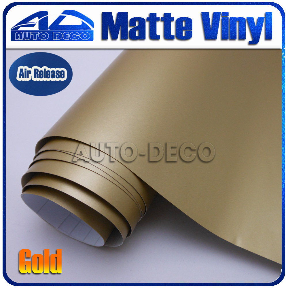 Quality Guarantee Gold Matte Vinyl Wrap Film Foil Car Sticker With Air Bubble Free FedEx Free Shipping size:1.52*30m/roll quality guarantee silver chrome vinyl film for car wrapping sticker with air bubble free 20m roll