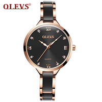 OLEVS Top Brand Fashion Women Watch Ladies Quartz Watch Black Ceramic Women Stainless Steel Bracelet Wrist Watch Reloj Mujer NEW