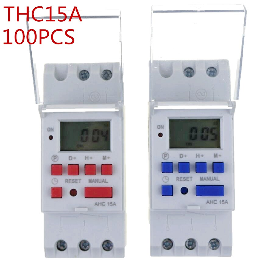 100pcs thc15a Din rail timer relay time switches weekly programmble electronic TIME SWITCH 220V bell ring device thc15a zb18b timer switchelectronic weekly 7days programmable digital time switch relay timer control ac 220v 30a din rail mount