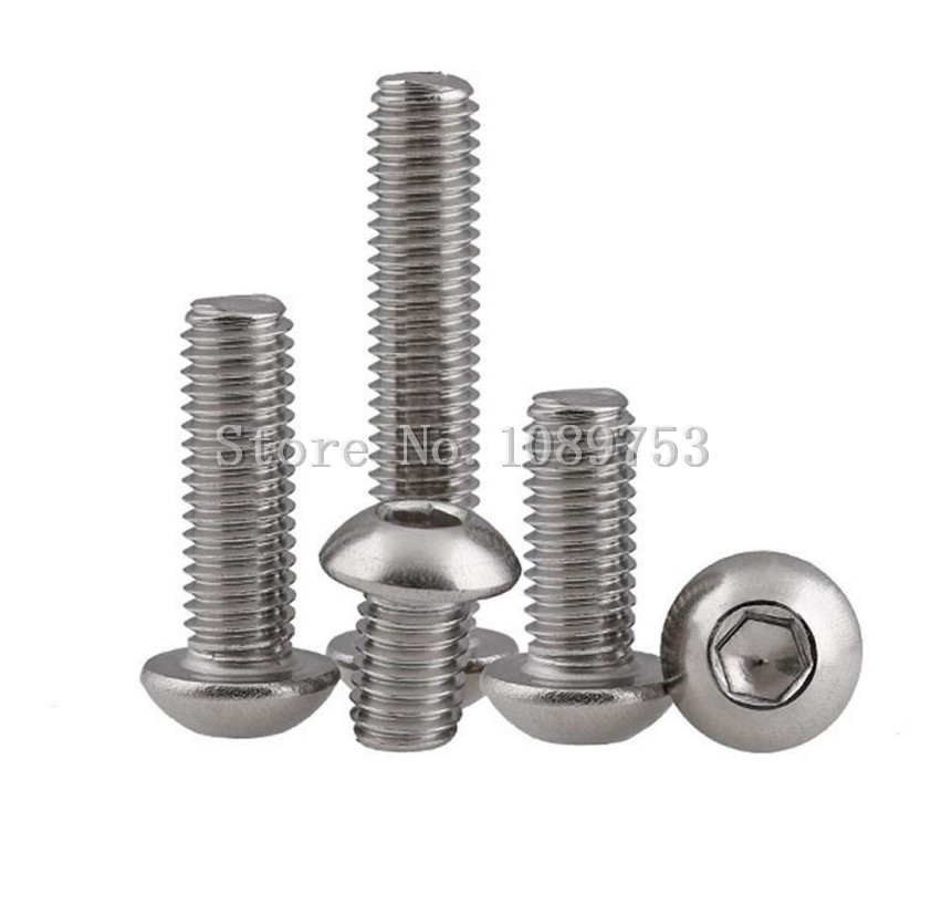 50Pcs M2 M2.5 M3 M4 304 Stainless Steel A2 Round Head Screws Mushroom Hexagon Socket Button Head Screw 50pcs m3 iso7380 gb70 2 304 stainless steel a2 round head screws mushroom hexagon socket length 4mm to 25mm