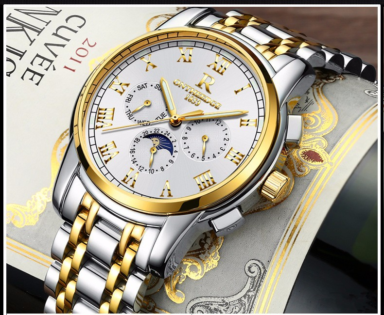 Reloj Hombre Top Brand Fashion Automatic Mechanical Watch Men Full Steel Gold watch Relogio Classic Business Wristwatch zegarka 2017 new full steel automatic watch binger casual fashion wristwatch with gold calendar man business hours clock relogio reloj