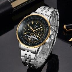 OUYAWEI Big Dial męskie zegarki automatyczne self wiatr Relogio Masculino wojskowy zegarek Tourbillon mechaniczny mężczyzna zegar w Zegarki mechaniczne od Zegarki na