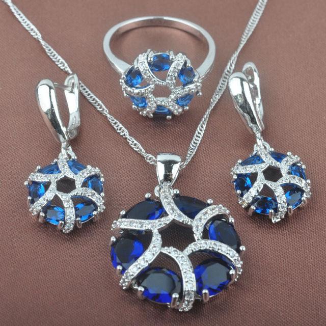 Piedra Azul de alta Calidad Cubic Zirconia Pendientes Colgante de Collar de Sistemas de La Joyería de Plata de Las Mujeres Suena El Envío Libre TZ042