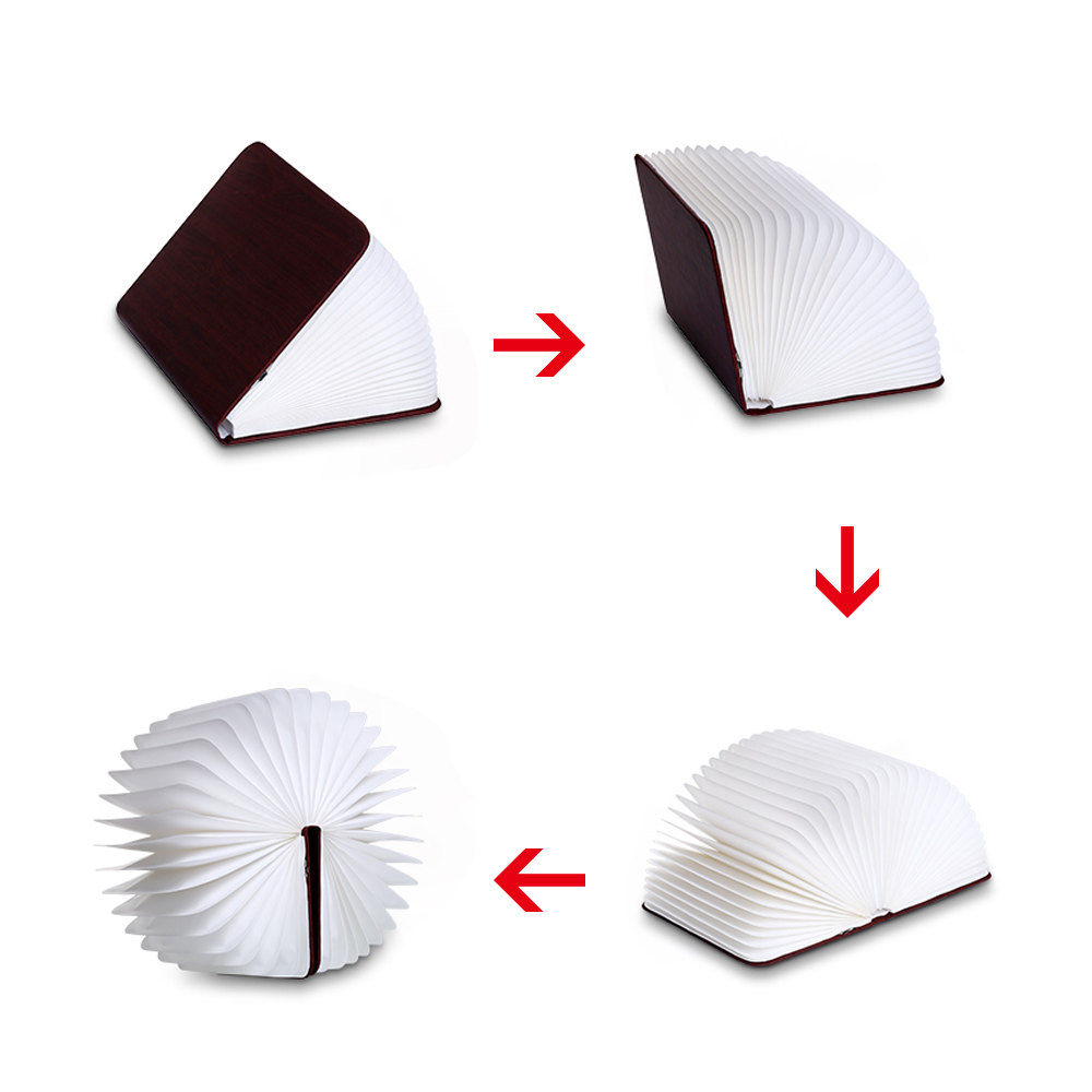 Rechargeable Folding Book Light Wooden Light Book Lamp Led Folding Wooden Book Figurines Bedroom Valentines Day Decoration Craft (12)