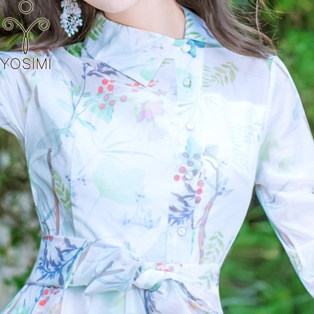 2018 Yosimi Bohème Vert Mousseline Élégante Soie Imprimer Turn Plage Longue Maxi Robe Ceintures Tunique down Voile Col De D'été Mince d1rnU1