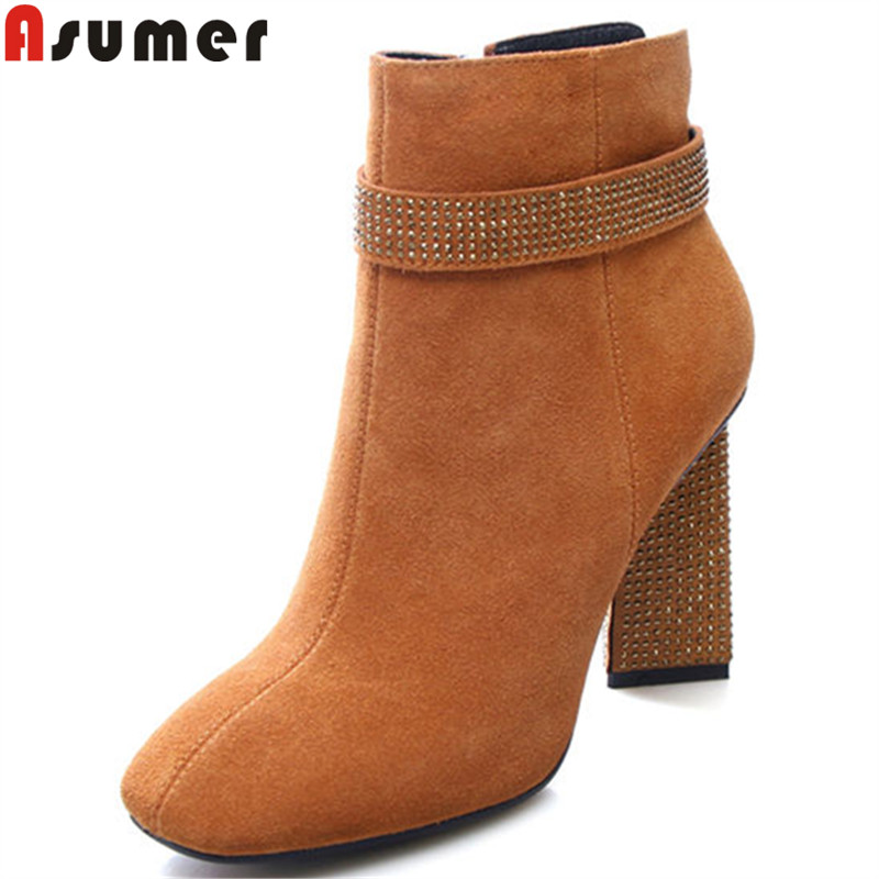 ASUMER big size 34-43 ankle boots fashion square toe zip suede leather boots rhinestone thick high heels boots new autumn winter asumer black fashion autumn winter boots women pointed toe zip genuine leather boots thick high heels ankle boots big size 33 43