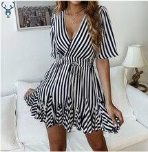 купить HXJJP 2019 Vintage striped women dress V neck ruffle cotton short summer dress plus size Sexy casual lady female vestido festa онлайн