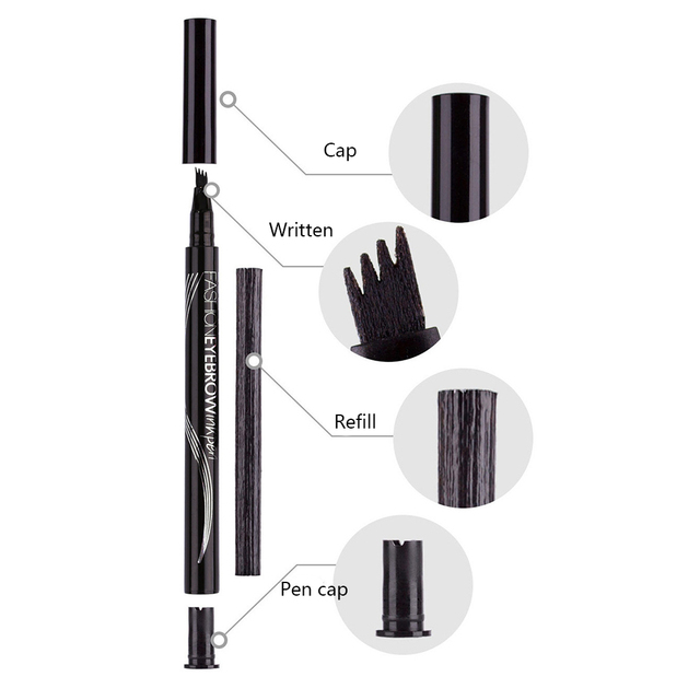 LULAA Four Heads Eyebrow Pen Waterproof Eyebrow Pencil Tattoo Tint Long Lasting Liquid Eye brow Gray Brown Black  Brush Makeup 5
