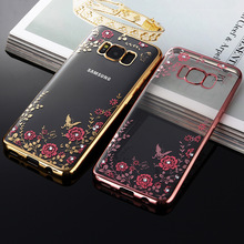hot deal buy for samsung s8 plus s8+ case flower bling diamond soft silicone tpu clear back cover for samsung galaxy s8 plus phone cases
