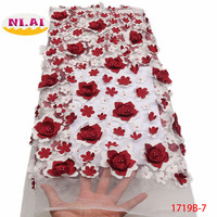 African Lace Fabric 3D Flower High Quality 2018 French Tulle Lace Fabric Appliqued Nigerian Net Lace For Wedding Dress XY1719B 2