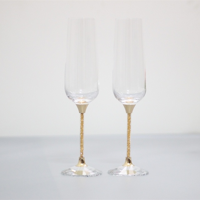 Fashion Toasting Wedding Gles Crystal Champagne Flutes For Bride And Groom Gold Stem Wine Goblet Gifts