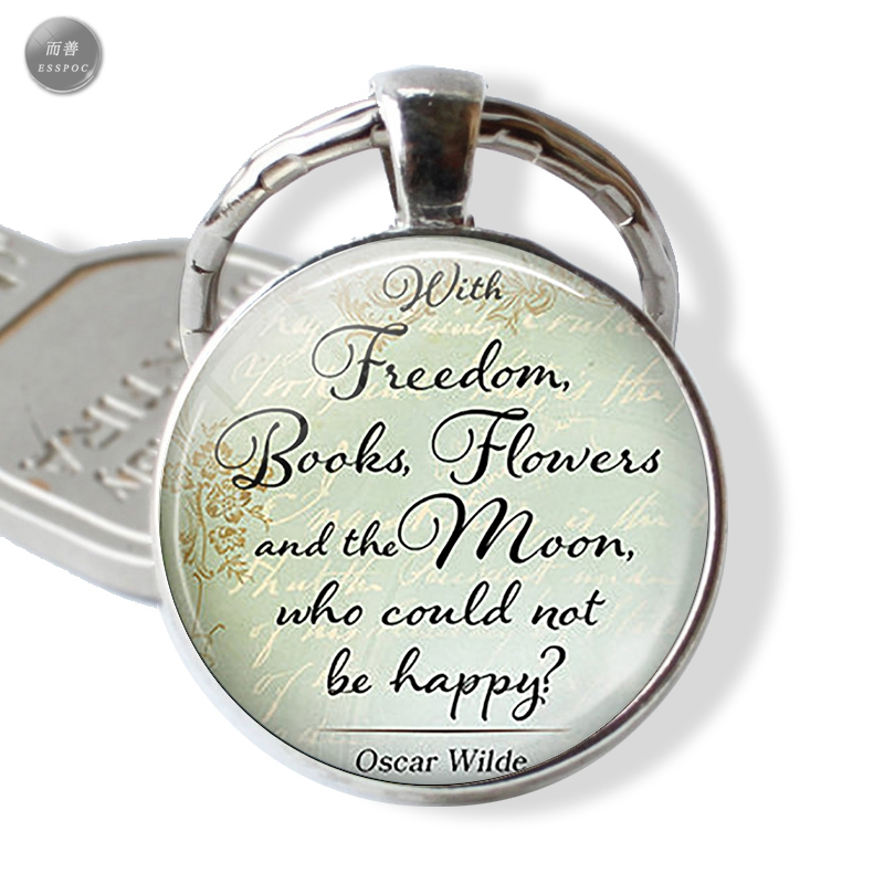 Oscar Wilde Quote Inspirational Men Jewelry Freedom Quote Metal Keychain Car Keyholder C ...