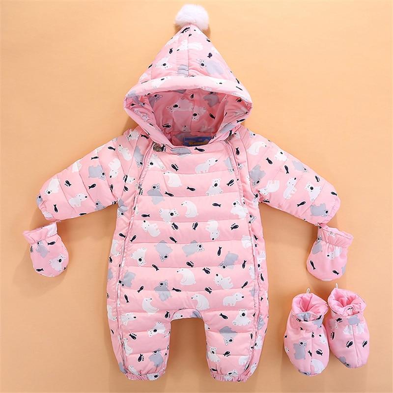 2f17e88b4db0 Baby Winter Rompers Newborn Baby Girls Boys Jumpsuit Clothing Sets ...