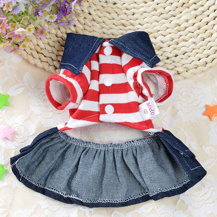 2016 Winter Warm New Dog Dress for Dog Clothes High Quality Jean Pet Clothes Fashion Striped Pets Dogs Princess Dresses Balck Red4