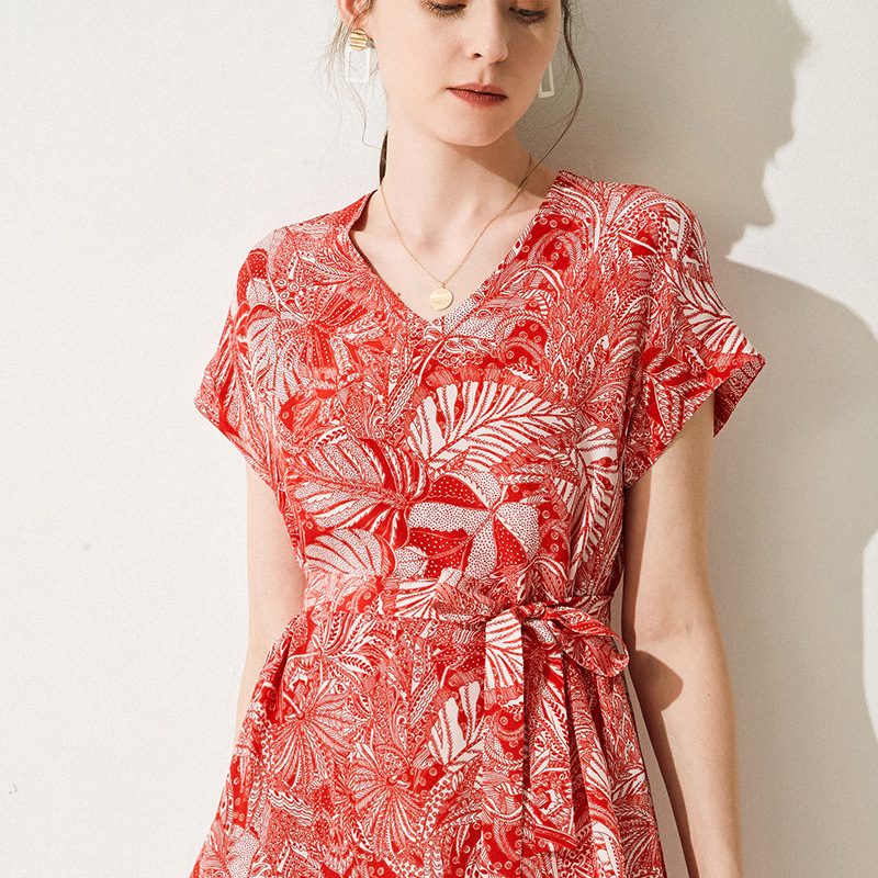 Красный Шелковый Цветочный плюс размеры летнее платье, халат Винтаж boho чешские 2019 для женщин Длинные slim fit Фея Мода выглядеть элегантный поя