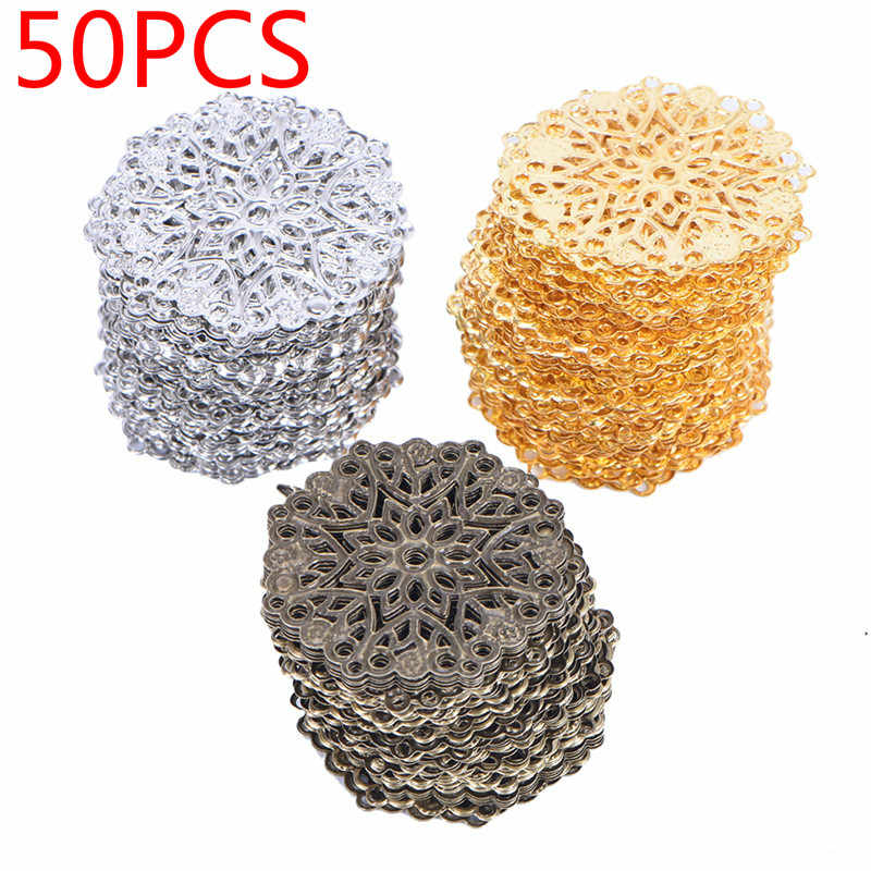 50PCS/Bag DIY Jewelry Earrings Ear Stud Pin Filigree Flower Wraps Connectors For DIY Jewelry Making Accessories