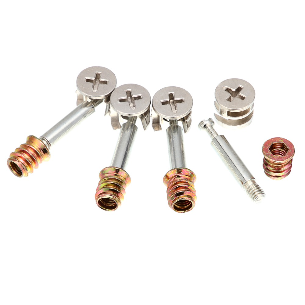 Kitchen cabinets assembled - 5pcs 3in1 M6 40 Furniture Screw Assembled Pieces Kitchen Cabinet Connectors Hammer Nut China