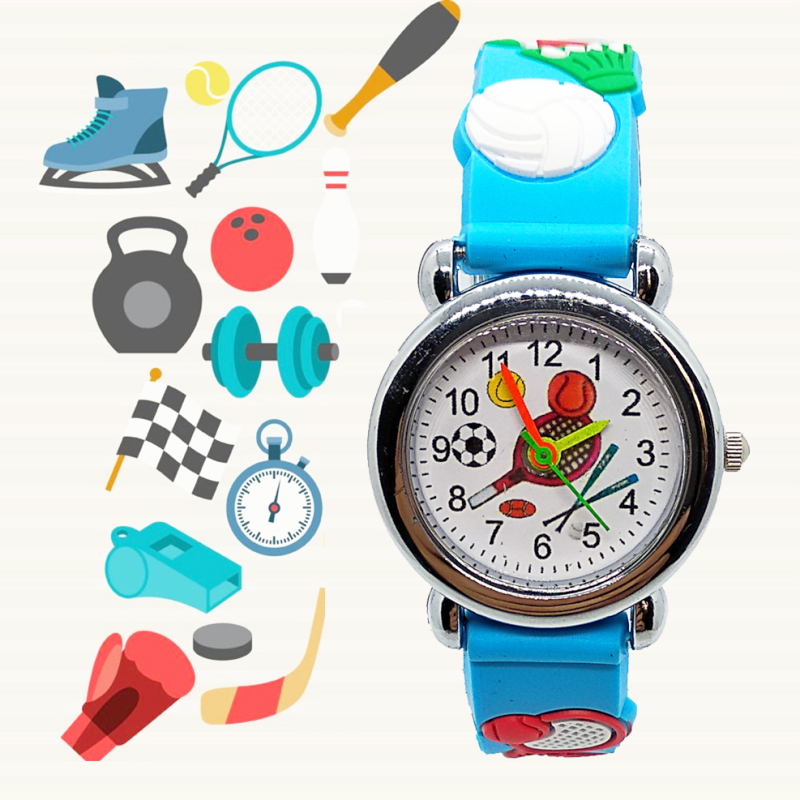 Cartoon Tennis Racket Kids Watches Girls Boys Students Clock Children Outdoor Sports Quartz Wristwatches Basketball Child Watch
