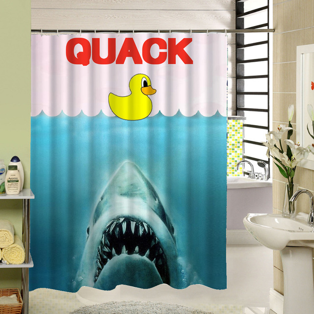 Lovely Duck Shark Shower Curtain High Quality Polyester Fabric Animal Design  Waterproof Mildewproof Easy To Clean