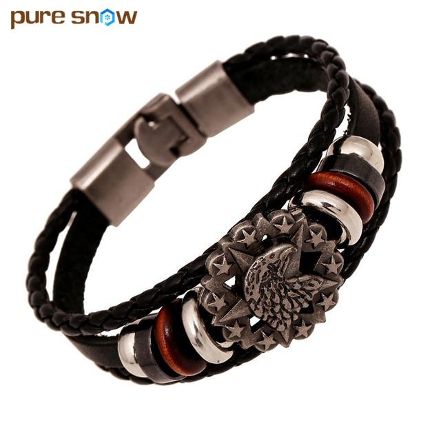 e1dcabdfa3e3 Pura nieve moda cuero Pulseras y brazaletes para las mujeres hombres mano  tejida pulsera de acero