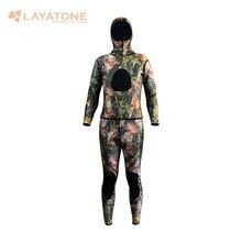 2015 traje de camuflaje para la pesca submarina, 3mm de neopreno de dos piezas traje de buceo para los hombres de todo el cuerpo WS-01