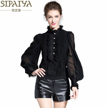 SIPAIYA 2017 Luxury Silk Blouse Shirt Female Long-Sleeve Basic Shirt Elegant Ruffles OL Formal Blouse for Office Ladies