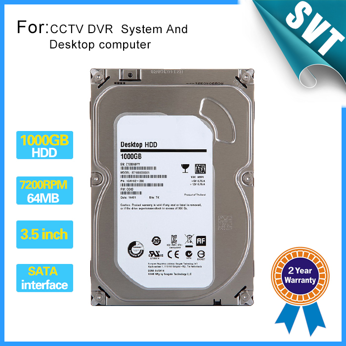 New 1000gb 3.5 inch Hard disk 1TB 7200rpm 64MB SATA Internal HDD for Desktop DVR recorder CCTV system CCTV Accessories SK-240 cctv accessories 3 5 inch 1000g 1tb 7200rpm sata pc hdd surveillance hard drive disk internal hdd for dvr security system