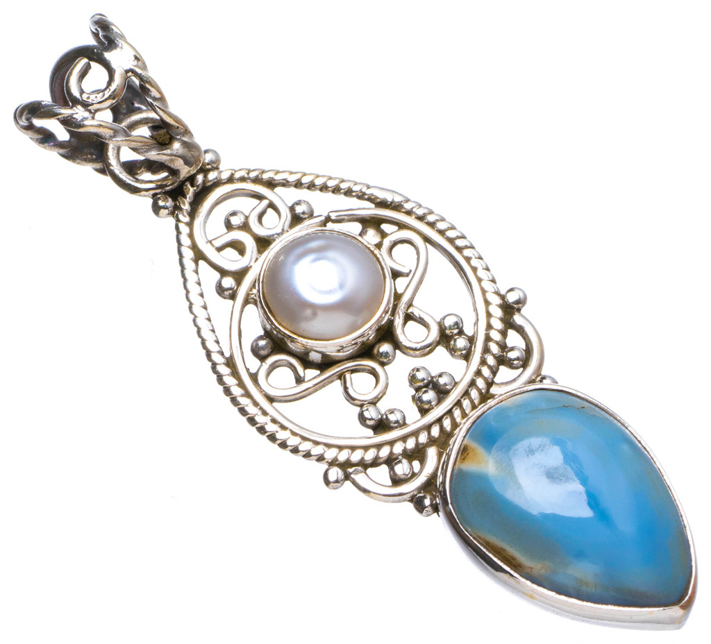 Natural Caribbean Larimar and River Pearl Handmade Unique 925 Sterling Silver Pendant 1.75 X1116
