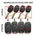 Modificado llave del coche a distancia 313.8/315/433 mhz para honda fit city odyssey acuerdo cívico crv cr-v v año 2003-2007