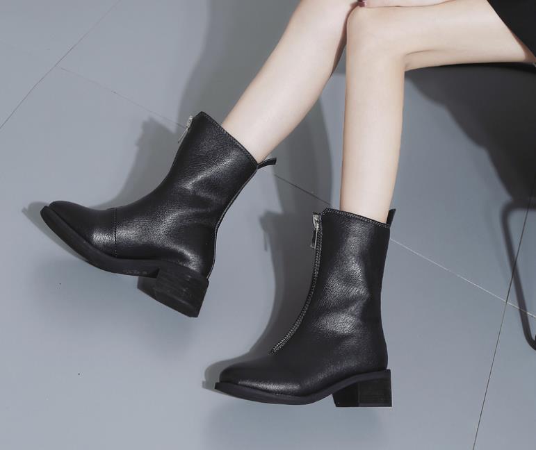 a13b9e890 Novas Frente Cor Cabeça Zipper E Das Martin De Mulheres Inverno Baixos  Sapatos Botas Redonda Curto ...