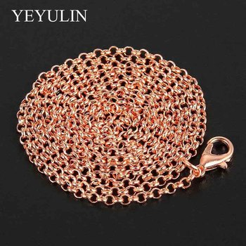 1 Pcs 86cm Rose Golden Silver Plated Long Chain For DIY Pendant Necklace Fashion Jewelry Findings Link Chains Wholesale
