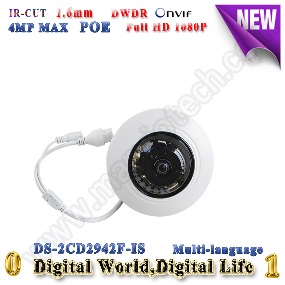 DS-2CD2942F-IS 4MP IP Camera POE 360 View Fisheye CCTV camera Support Audio SD Card security camera 1 to 4 video cutting panorama ir ip camera poe 3mp 360 degrees view fisheye cctv camera support onvif p2p cloud ie view