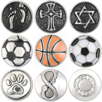 Legenstar wholesale 12mm Snap Button Basketball football footprints Crystal charm Ginger Snaps Jewelry For Woman Fit Necklace