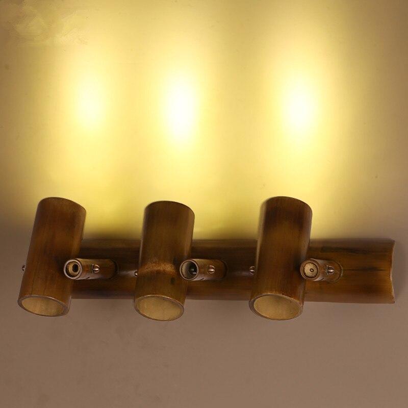 American Village Loft Retro Wall Lamp Originality Background Restaurant Cafe Bar Bamboo Decor LED Lights Fixture Freeshipping