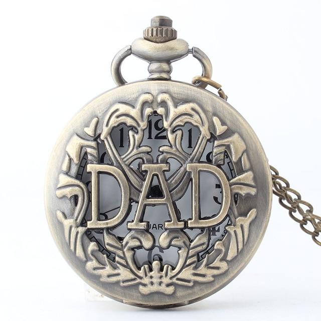 Ehrlich Vintage Bronze Hohl Dad Quarz Taschenuhr Männer Vater Halskette Anhänger Mit Kette Vater Der Tag Geburtstag Geschenke Uhr Gute WäRmeerhaltung