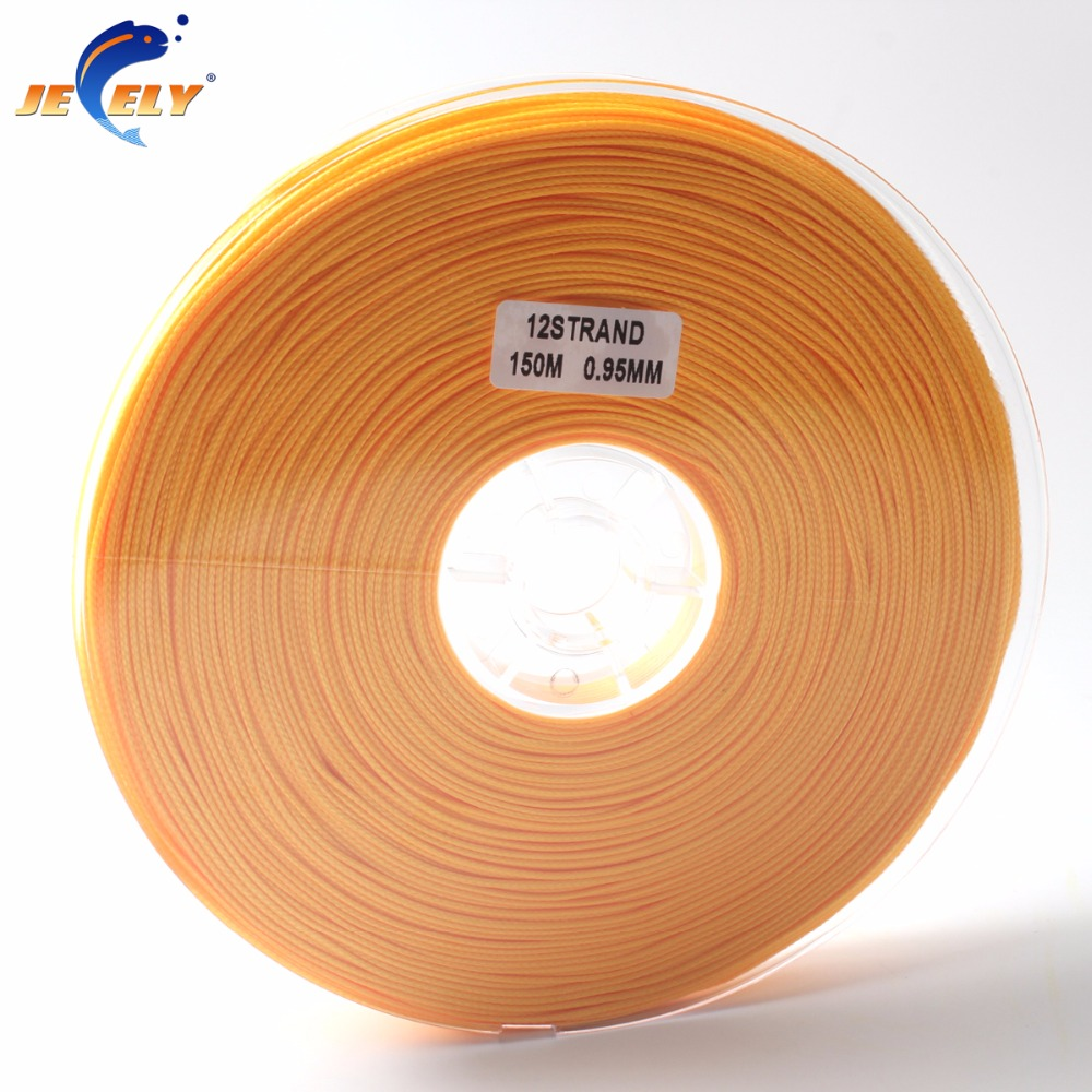 150m 300LB 140KG 0.95MM 1MM 12Strand UHMWPE Spectra Hollow Braid Rope Fishing Line Orange Color 150M Spool цена