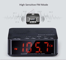 Altavoz portátil Bluetooth 2 Canales MX-017 Wireless Mini Altavoz Bluetooth FM Radio Reloj Despertador con Pantalla LED de Tiempo Lector TF