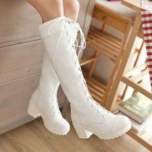 Mode Große Größe 34-43 Lace up Kniehohe Stiefel Ritter Dick High Heels Stiefel für Frauen Winter Schuhe Plattform Winterstiefel P938