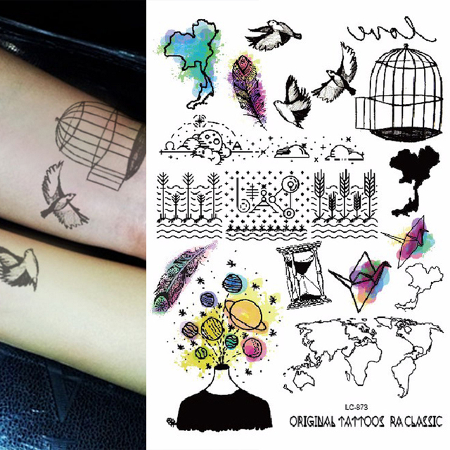 1sheet new multi style 24models trendy temporary tattoos world map 1sheet new multi style 24models trendy temporary tattoos world map birds birdcage feather arm tattoo gumiabroncs Choice Image