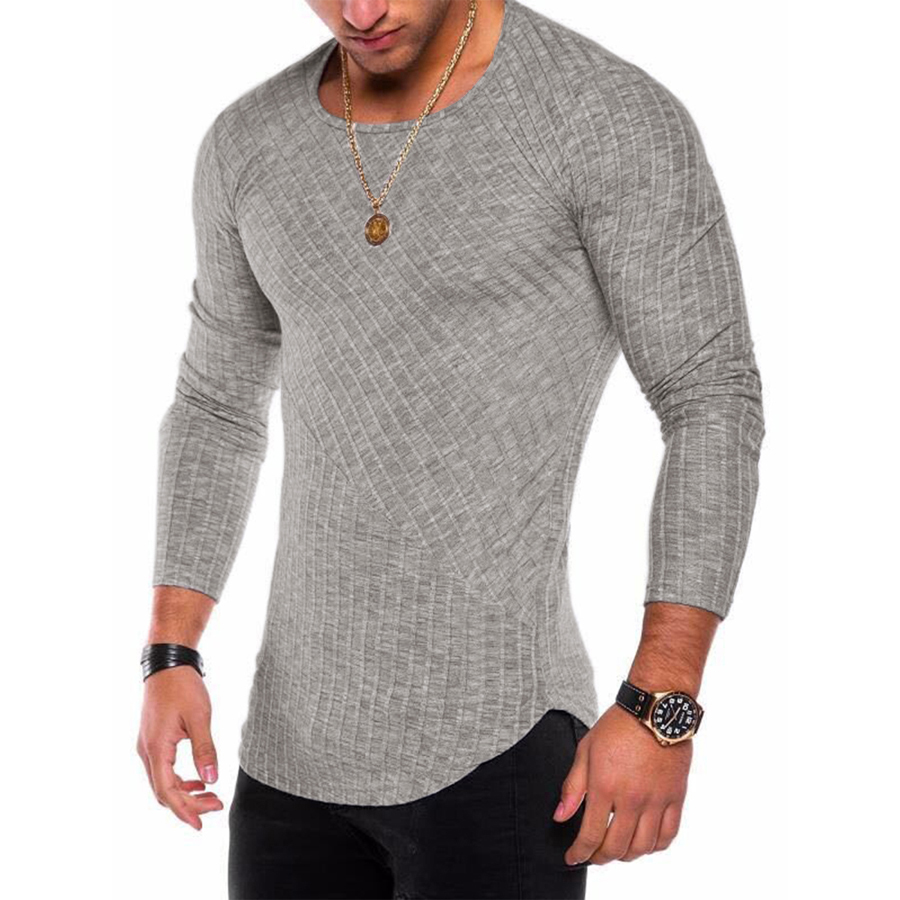 6 Colors Spring Men Long Sleeve T Shirt Casual Round Neck Striped Elastic Fit Funny Streetwear Solid Tshirt Hip Hop Tops #4