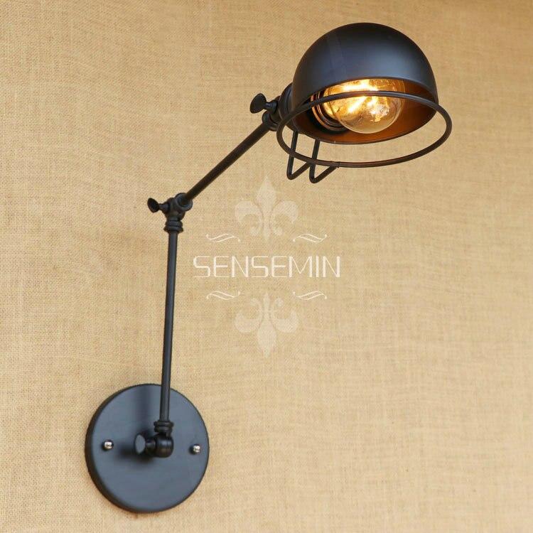 Nový Vintage průmyslový podkrovní kreativní minimalistický dlouhý ramenní nástěnný svítidlo nastavitelný rukojeť Metal Rustic Light Sconce svítidla