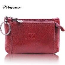 Купить с кэшбэком Genuine Leather Mini Women Wallets Female Small Wallet Zipper Lady Coin Purse Magic Walet Money Bag Card Holder Key Ring Vallet