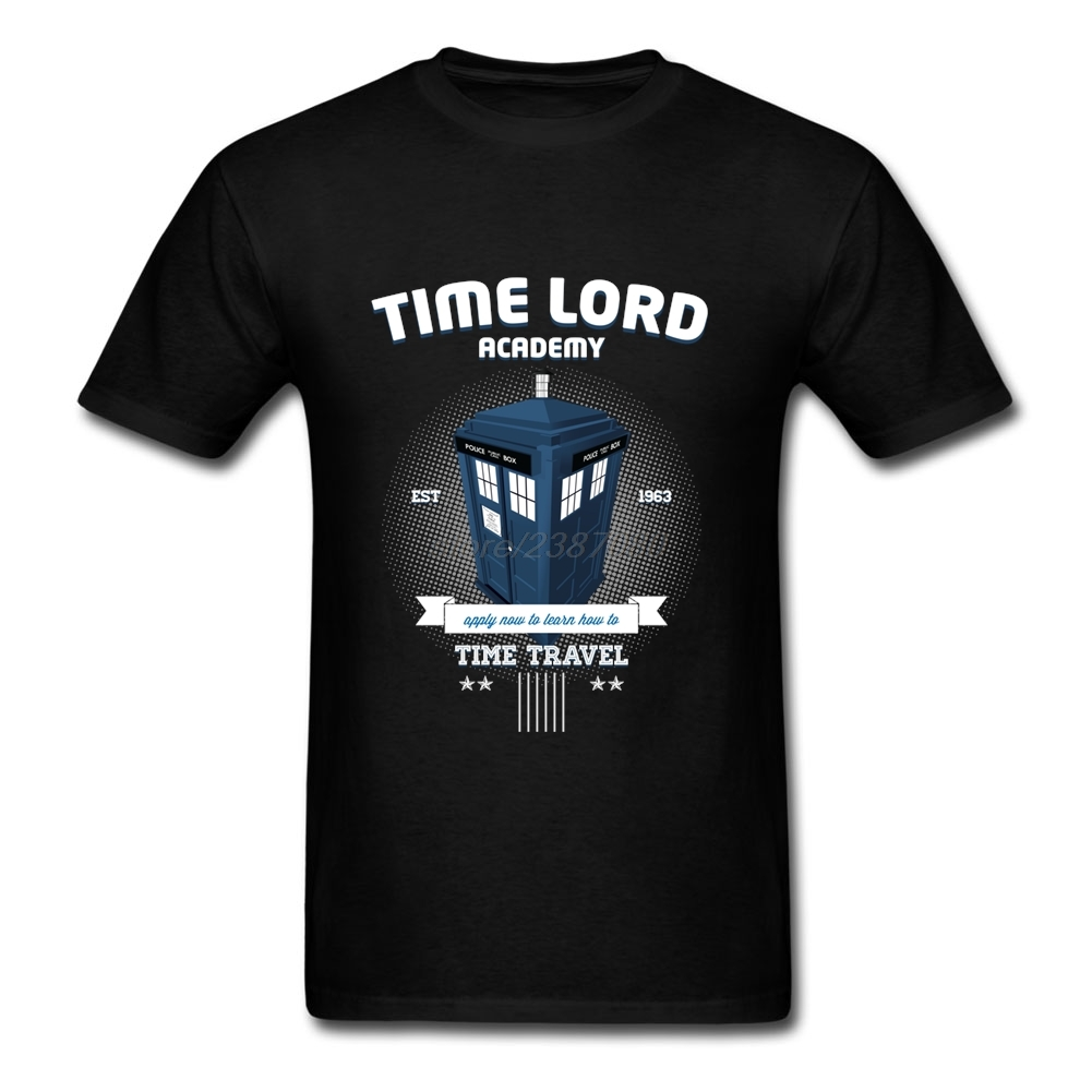 Customized Short Sleeve T Shirts Time Lord Academy Man Custom Tees Orangic Cotton Youth Doctor Who DR WHO Roupas Masculinas