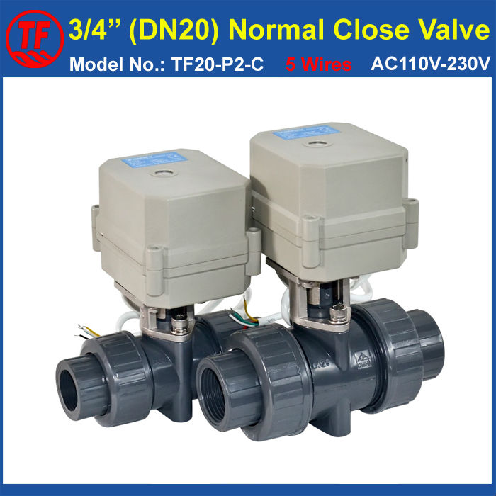 TF20-P2-C UPVC DN20 Normal Close Actuated Valve BSP/NPT 3/4'' AC110V-230V 5 Wires With Signal Feedback 10NM On/Off 15 Sec CE ac110 230v 5 wires 2 way stainless steel dn32 normal close electric ball valve with signal feedback bsp npt 11 4 10nm
