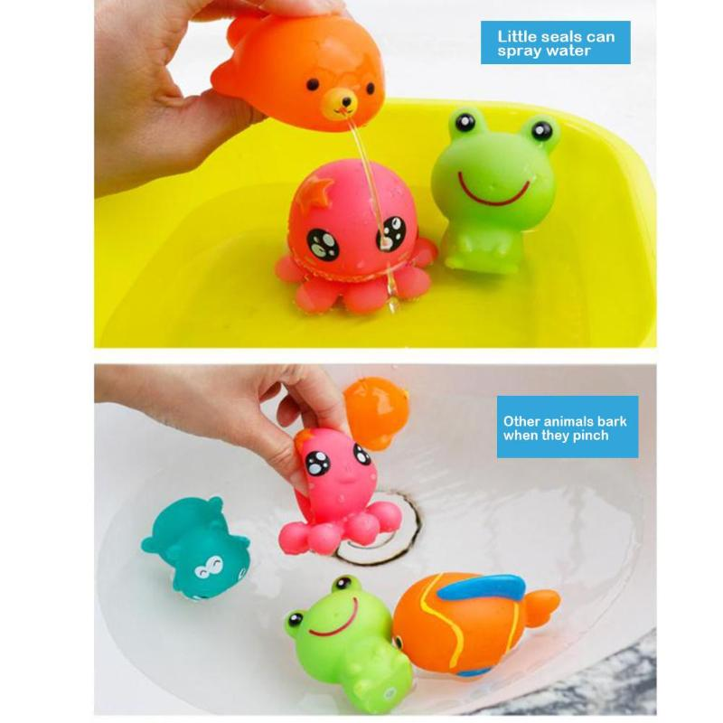 5pcs Baby Bath Toys Rubber Water Spraying Baby Bathing Squirters Toy Kids Squeeze Sounding Dabbling Shower Toys Education Gift