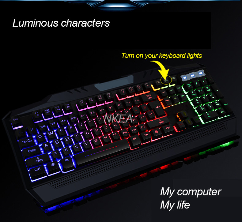 US $22 0 |New Wired Professional Gaming Keyboard Peripherals PC Keyboard  Illuminated Keyboard LED Backlit for LOL for PC Notebook Laptop-in  Keyboards